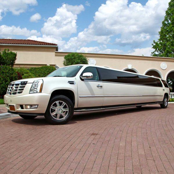 Pearl White Cadillac Escalade Limo